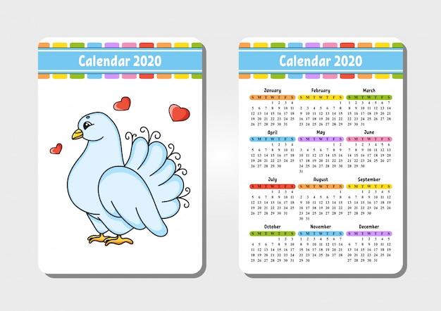 Calendario per il 2020 con un personaggio carino Vettore Premium