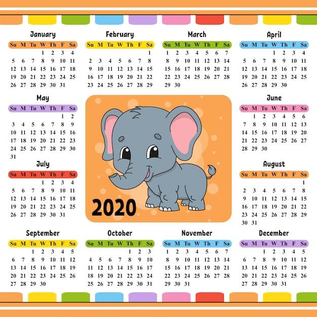 Calendario per il 2020 con un personaggio carino. Vettore Premium