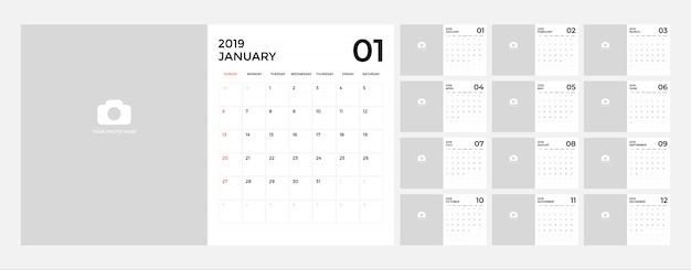 Calendario per modello 2019. Vettore Premium