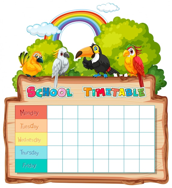 Calendario pianificazione scolastica con personaggi Vettore gratuito