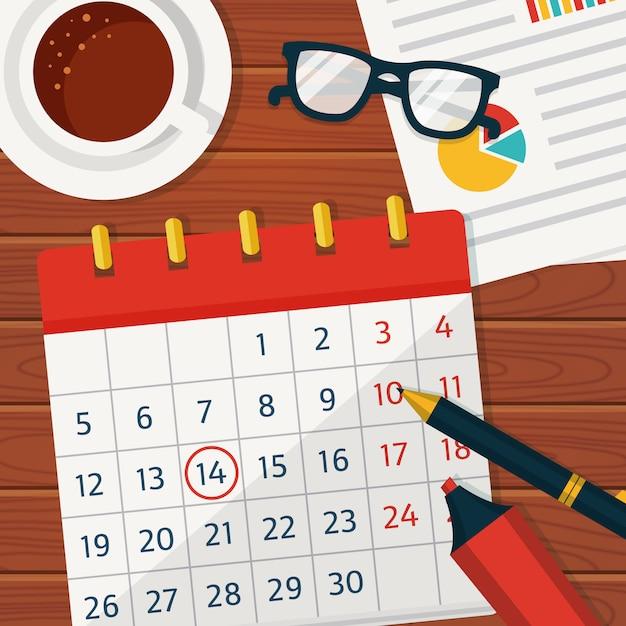Calendario pianificazione sfondo concetto. Vettore Premium