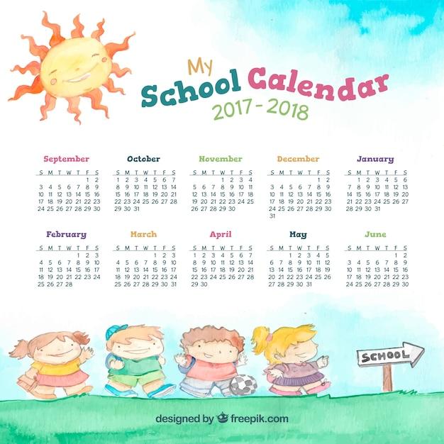 Calendario scolastico acquerello con i bambini sulla strada per scuola Vettore gratuito