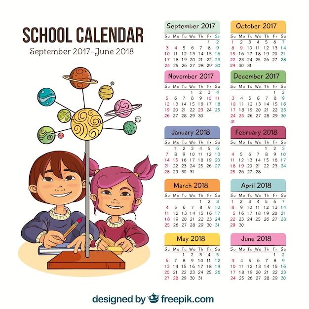 Calendario scolastico con bambini disegnati a mano Vettore gratuito