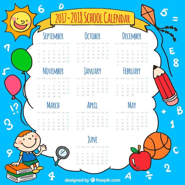 Calendario scolastico con elementi disegnati a mano Vettore gratuito