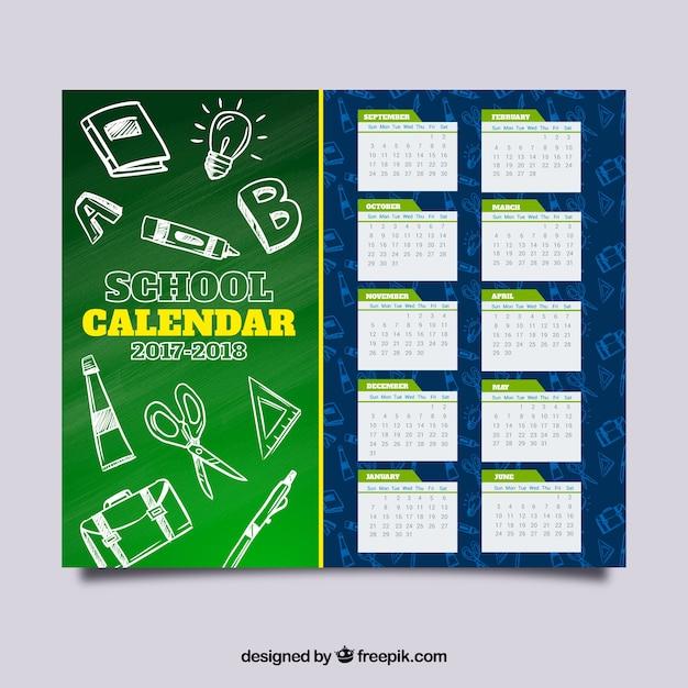 Calendario scolastico con schizzi di materiale Vettore gratuito
