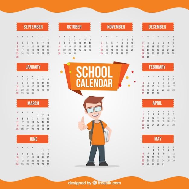 Calendario scolastico di bambino con zaino Vettore gratuito