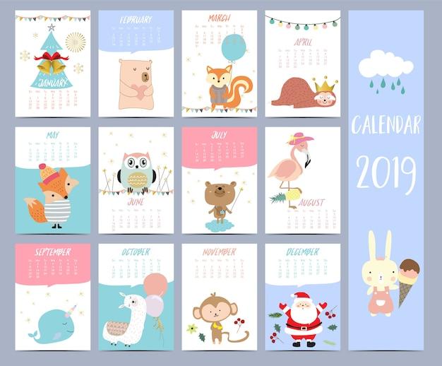 Calendario set 2019 con babbo natale Vettore Premium