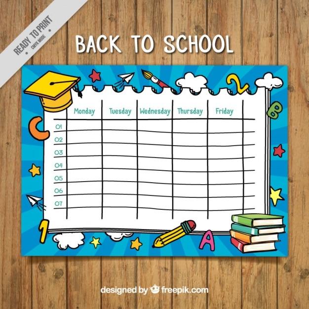 Calendario settimanale nizza con graduazione berretto giallo Vettore gratuito