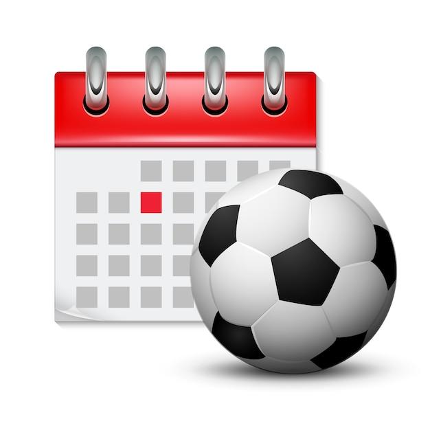 Calendario Sportivo.Calendario Sportivo E Pallone Da Calcio Realistico