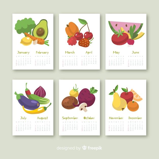 Calendario stagionale colorato di frutta e verdura Vettore gratuito