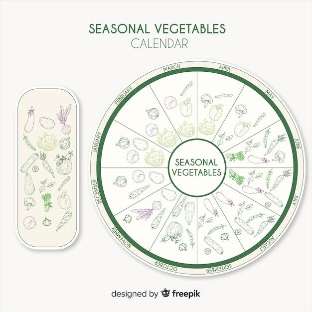 Calendario stagionale di frutta e verdura Vettore gratuito
