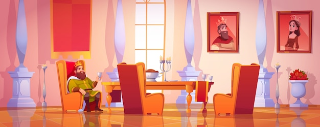 Calice della tenuta di re che si siede alla tavola con alimento Vettore gratuito