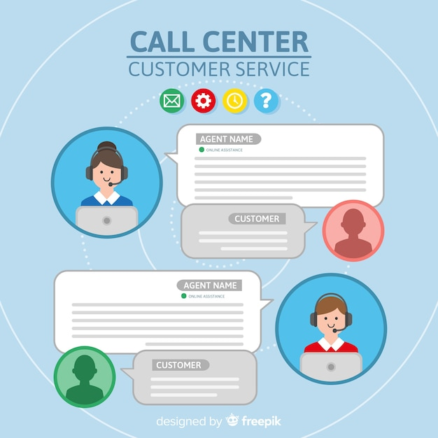 Call center agente collezione avatar con design piatto Vettore gratuito