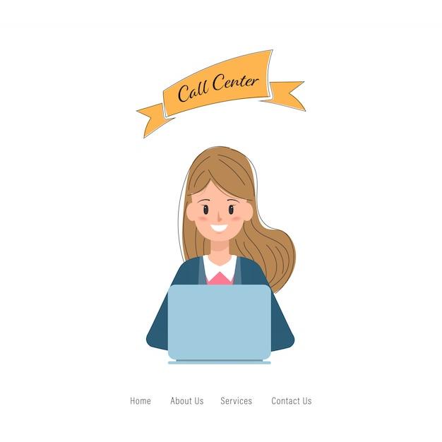 Call center carattere di lavoro del servizio clienti. Vettore Premium
