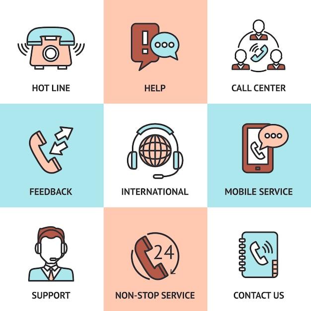 Call center design concept set Vettore gratuito