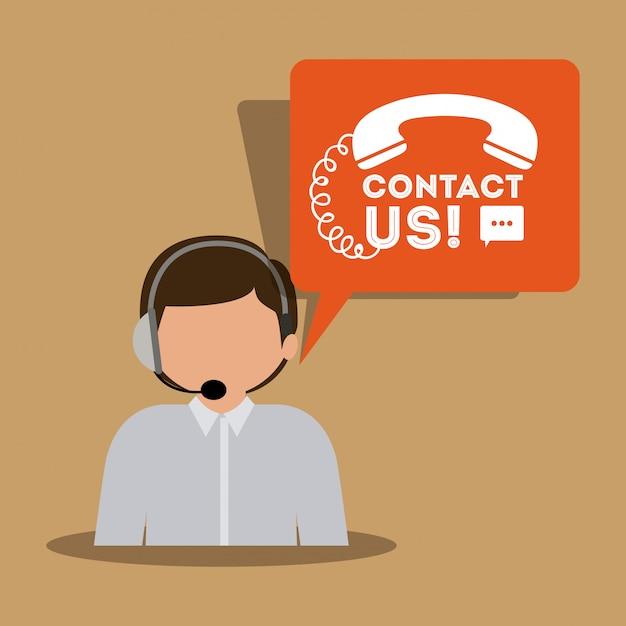 Call center design Vettore Premium