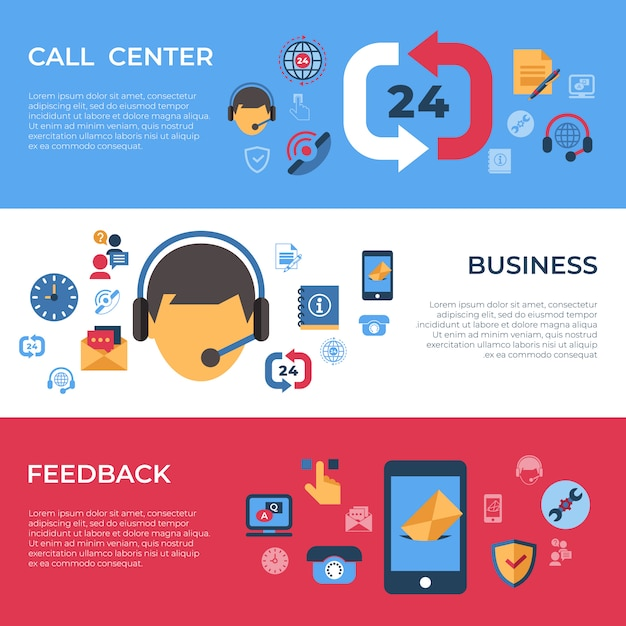 Call center e icone di supporto feedback aziendale Vettore Premium