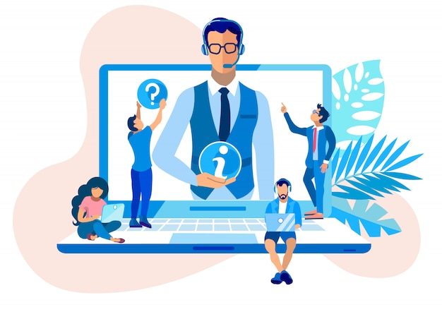 Call center information support cartoon flat. Vettore Premium