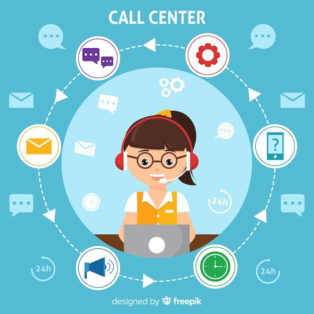 Call center moderno sfondo in design piatto Vettore gratuito