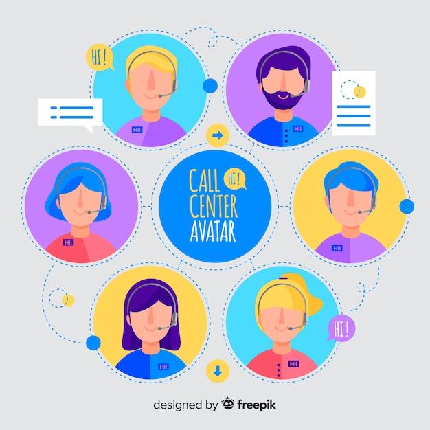 Call center set avatar Vettore gratuito