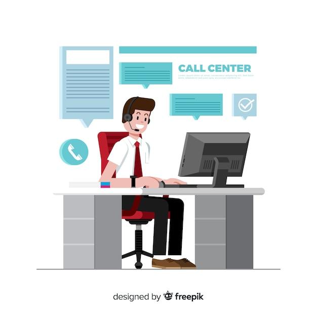 Call center sfondo design piatto Vettore gratuito