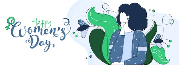 Calligrafia del giorno delle donne felici con la ragazza del fumetto e decorata floreale sull'insegna bianca Vettore Premium