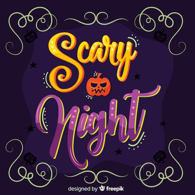 Calligrafia di notte spaventosa di halloween Vettore gratuito