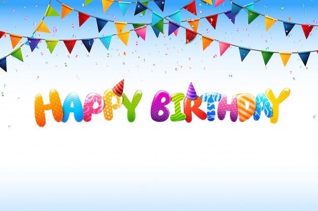 Calligrafia variopinta 0005 di buon compleanno 3d Vettore Premium