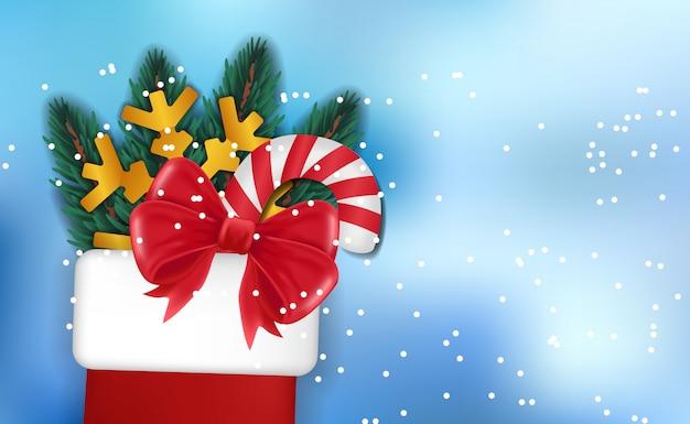 Calza regalo di natale super vendita sfondo Vettore Premium
