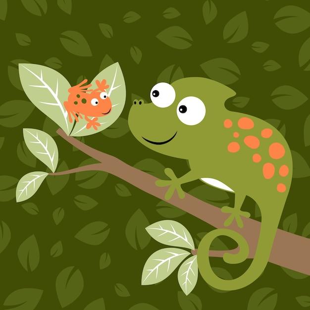 Camaleonte e vettore di cartone animato rana scaricare