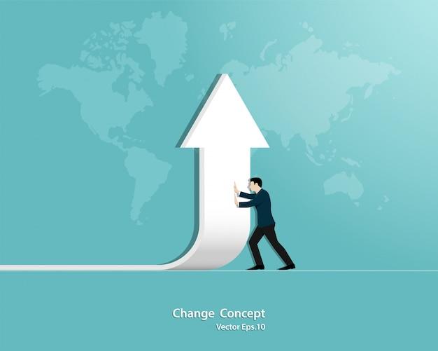 Cambio direzione uomo d'affari Vettore Premium
