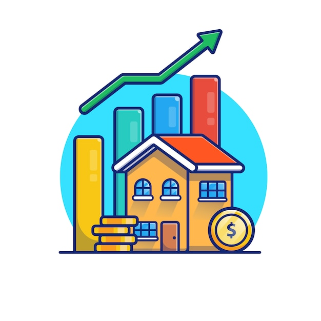 Camera con l'illustrazione statistica delle monete di oro. concetto di investimento immobiliare. edificio bianco isolato Vettore Premium