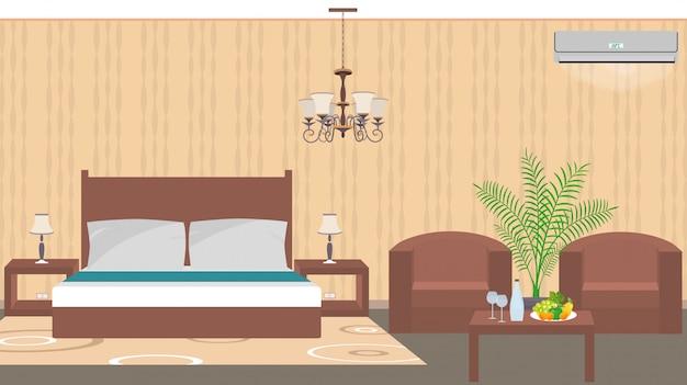 Camera d'albergo di lusso interno in stile est con mobili, aria condizionata Vettore Premium