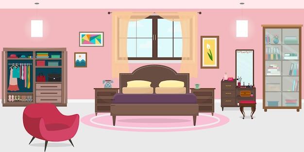 Camera da letto arredata | Scaricare vettori Premium