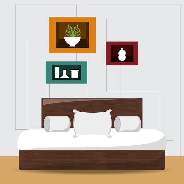 Camera da letto con letto e oggetti decorativi icona design colorato ...