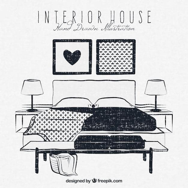 Camera da letto disegnato a mano in stile vintage | Scaricare ...