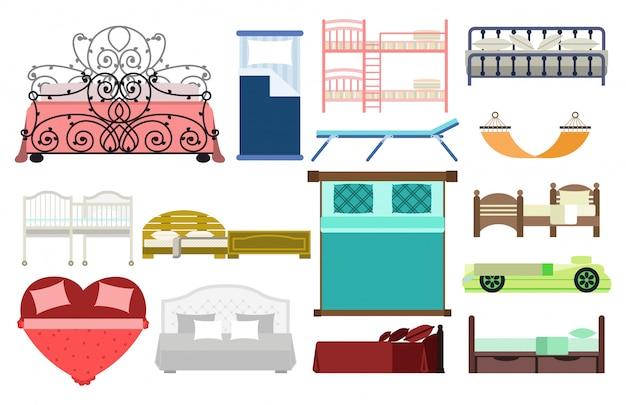 Camera da letto esclusiva di progettazione della mobilia di sonno con il letto di vista aerea e l'illustrazione domestica comoda di vettore della decorazione dell'appartamento di rilassamento della stanza interna. Vettore Premium