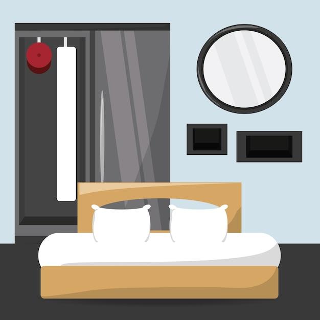 Camera da letto moderna con letto e specchio icona design colorato ...