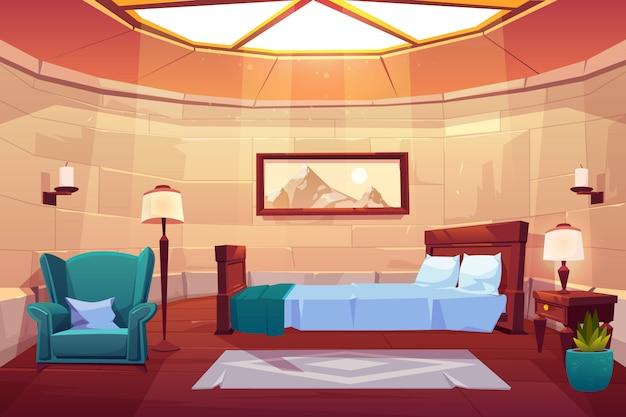 Camera da letto nel castello o nel palazzo. Vettore gratuito