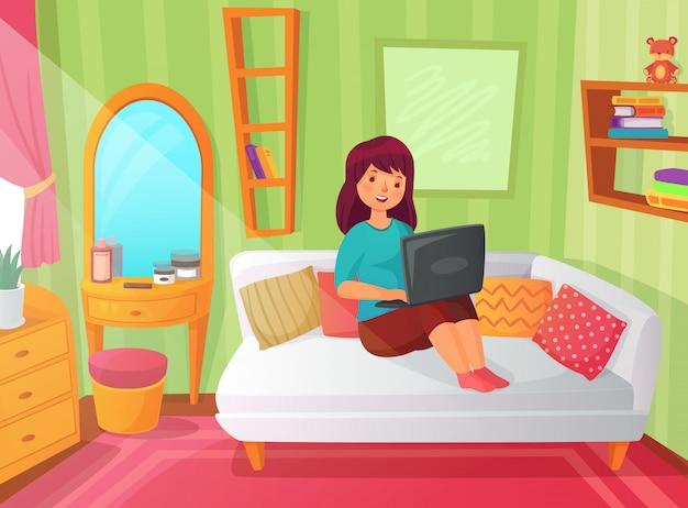Camera da letto studentessa. stanza dell'appartamento dell'adolescente, studio online a casa e lettura della studentessa sull'illustrazione del fumetto del computer portatile Vettore Premium