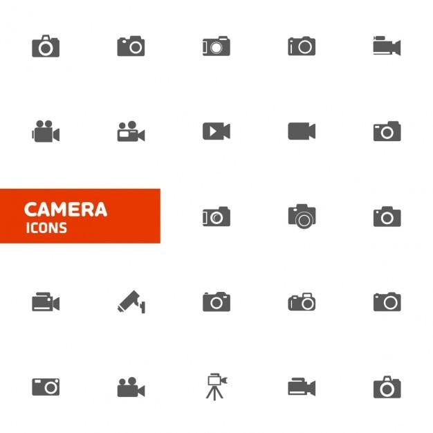 Camera icon set Vettore gratuito