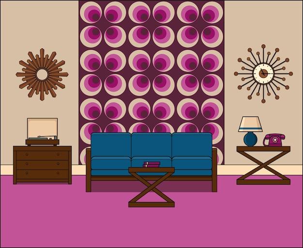 Camera in appartamento. retro salone interno s in linea arte. illustrazione lineare. grafica. spazio domestico vintage dalla linea sottile con divano, giradischi e telefono. attrezzatura per la casa. Vettore Premium