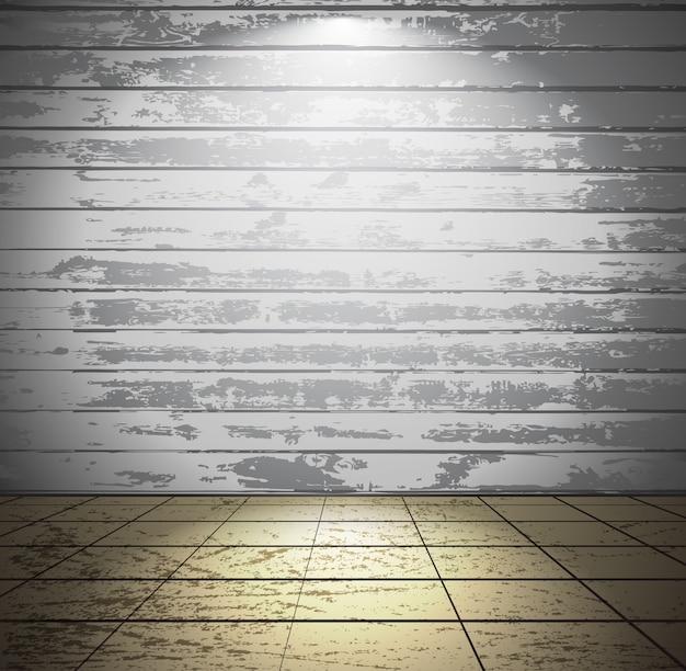 Camera in legno bianco con pavimento piastrellato Vettore Premium