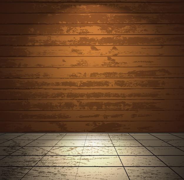 Camera in legno con pavimento chiaro Vettore Premium
