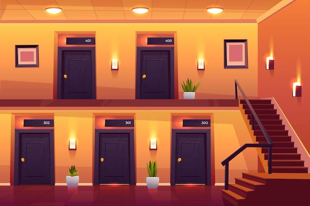 Camere nel corridoio dell'hotel con scale al secondo piano Vettore gratuito