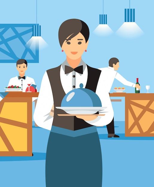 Cameriera con piatto caldo e coperchio cartoon character Vettore Premium