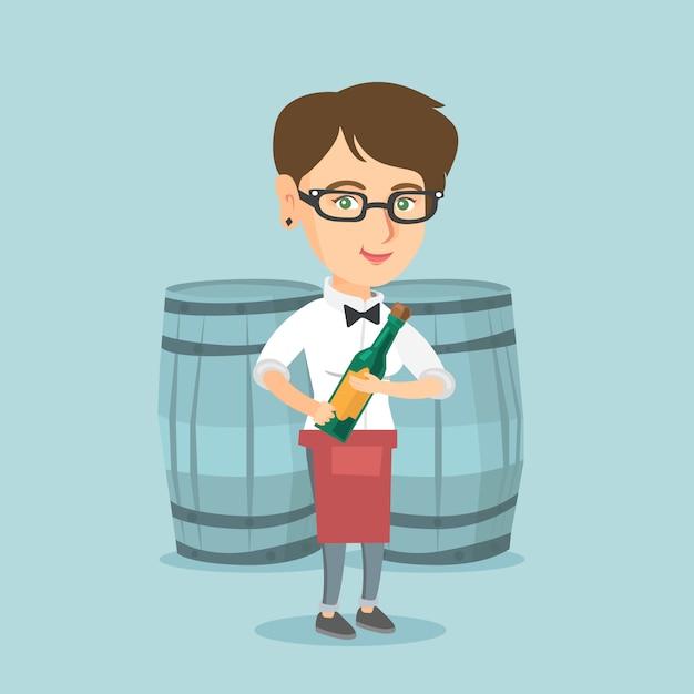 Cameriera di bar caucasica che tiene una bottiglia di vino. Vettore Premium