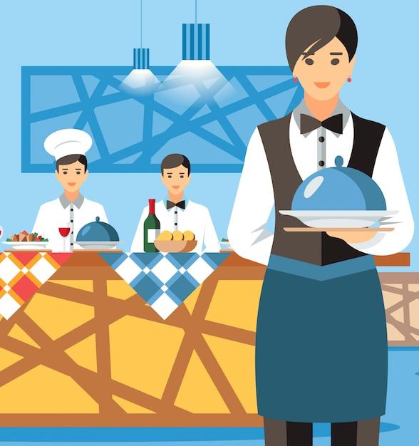 Cameriera holding plate con coperchio cartoon character Vettore Premium