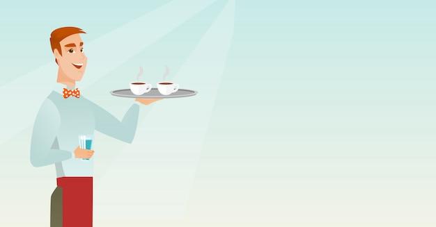 Cameriere che tiene vassoio con tazze di caffè o tè. Vettore Premium
