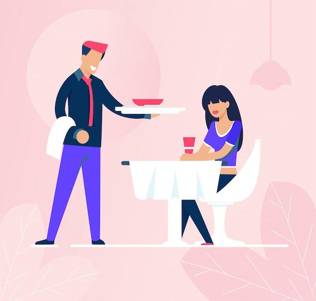 Cameriere e donna triste che si siedono avanti nel ristorante Vettore Premium